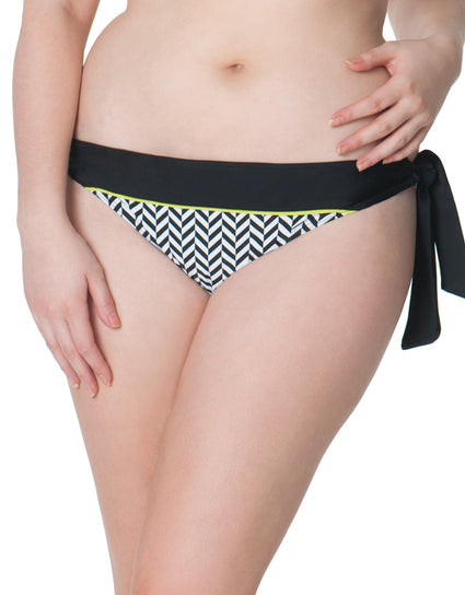 Curvy Kate Hypnotic Tie Side Bikini Brief Monochrome/Olive