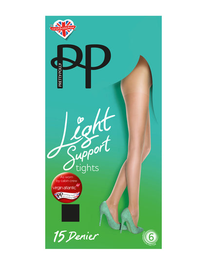 Pretty Polly 15D Light Support Tights Barely Black
