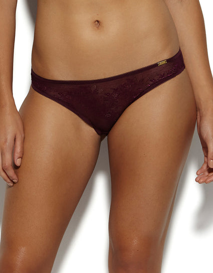 Gossard Glossies Lace Brief Dark Purple