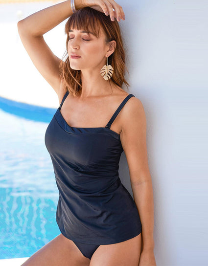 Pour Moi Jet Set Loose Tankini Top With Removable Straps Black