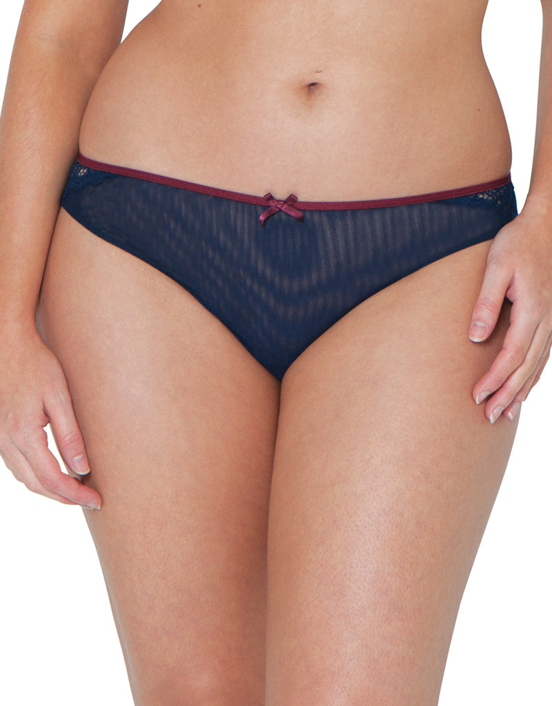 CK4405 NEW CURVY KATE /'ELLACE/' BRAZILIAN STYLE BRIEF NAVY//WINE SIZES 10 AND 14