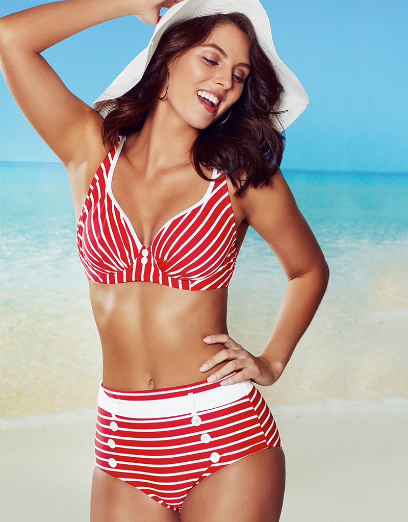 Pour Moi Starboard Full Cup Bikini Top Red/White