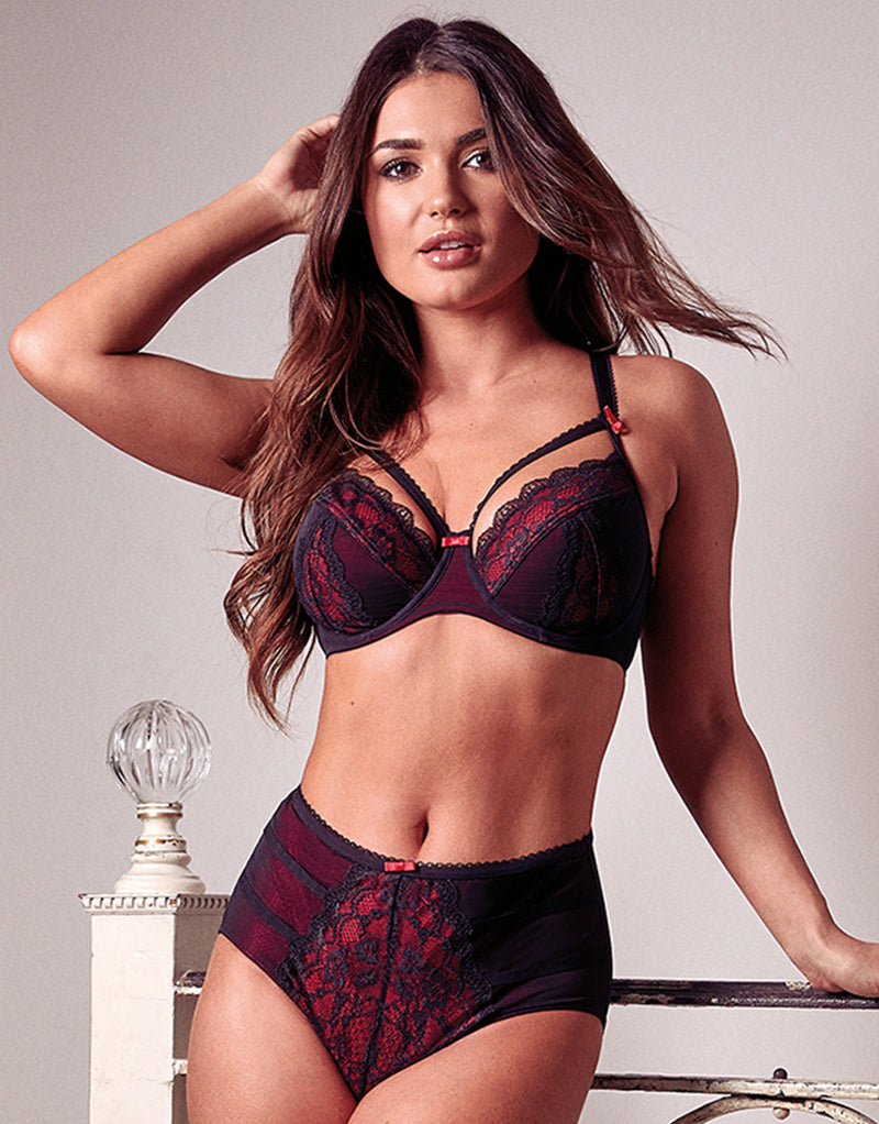 Pour Moi Instinct Balconette Bra Black/Red