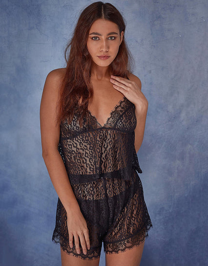 Wolf & Whistle Jenna Leopard Mesh Camisole & Shorts Set Black