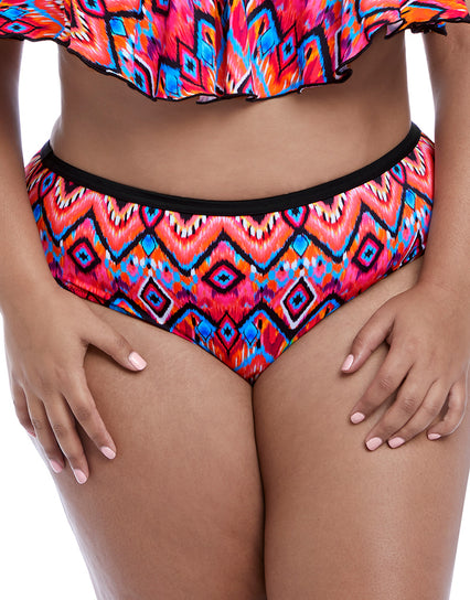 Elomi Tribe Vibe Mid Rise Bikini Brief Flame Multi