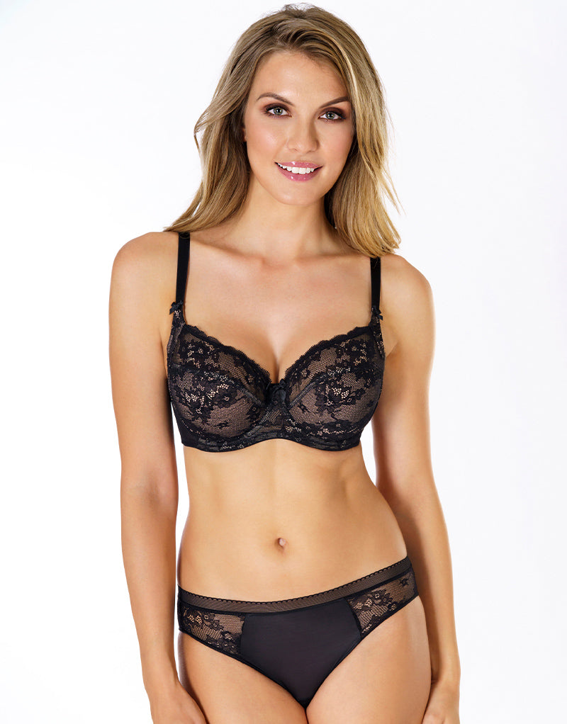 Rosme Eliza Lace Side Support Bra Black