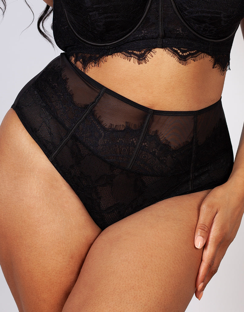 Gabi Fresh x Playful Promises Bianca Lace High Waist Brief Black
