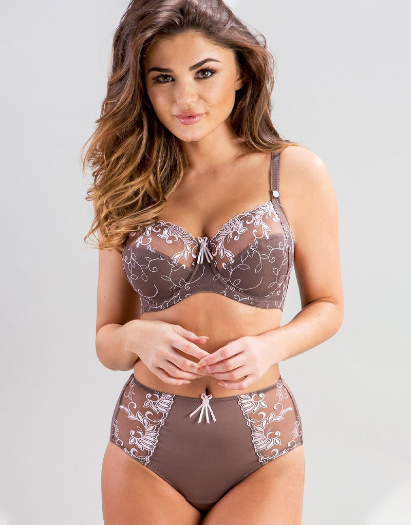 Imogen Rose by Pour Moi Imogen Rose Embroidered Full Cup Bra Mink/Pink