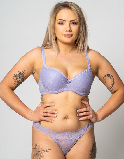 Ivory Rose All Over Lace Padded Plunge Bra Lilac