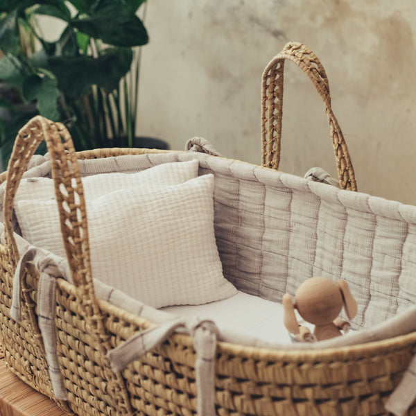 Moses Basket Set Padded Stripe