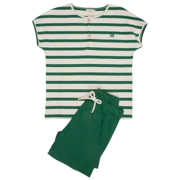 Ivory & Moss Stripe |  Kid's Short Sleeve Set