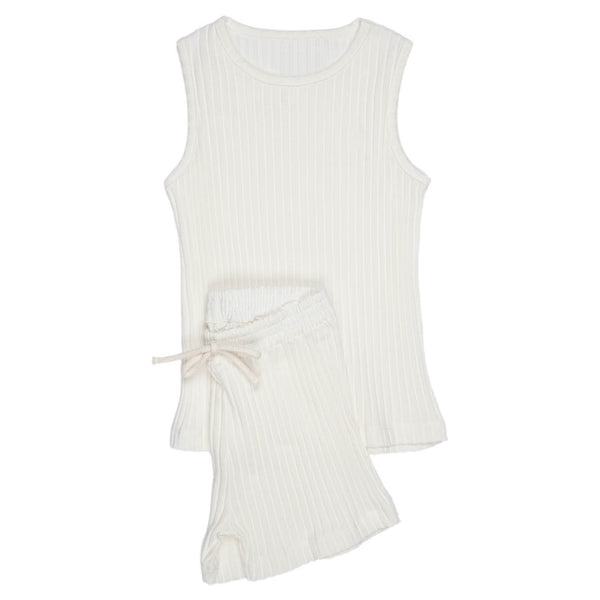 Ribbed |  Sleeveless Shirt & Short Set