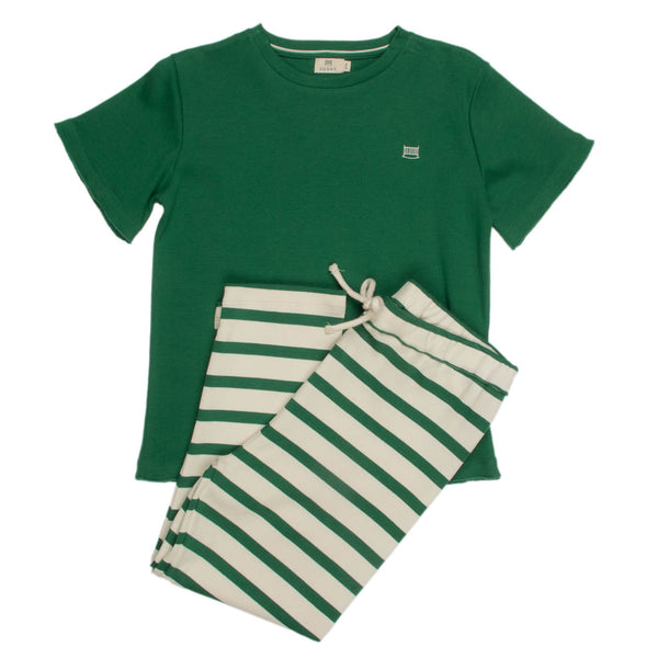 Ivory & Moss Stripe |  Kid's T & Pant Set