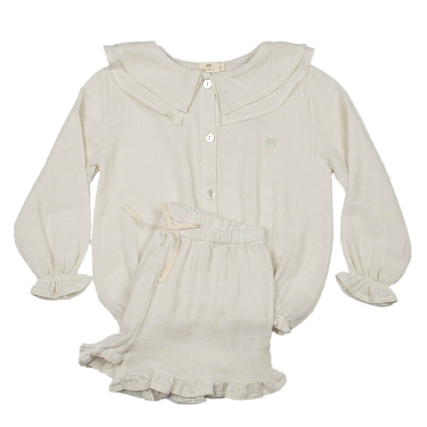Gauze | Girl's Embroidered Set | Stone