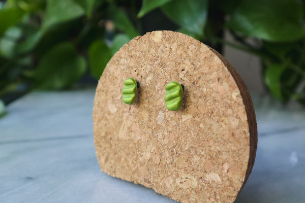 Metallic Green Tracks - Stud Earrings