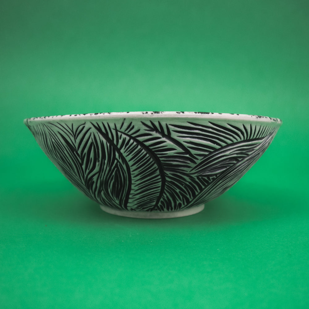 Large Zebra Print Carved Bowl