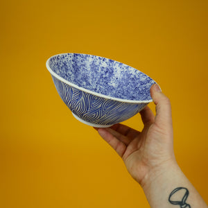Load image into Gallery viewer, Speckled Blue Carved Bowl