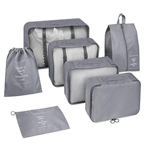7 Set Travel Packing Cubes AB04001, Gray - Inateck Backpacks