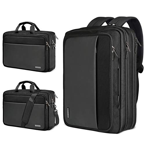 15.6 Inch Convertible Laptop Briefcase with Letter Paper Compartment LB03002, Black - Inateck Backpacks