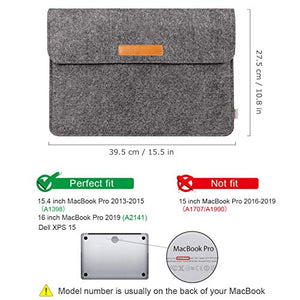 Inateck 15.4-16 Inch MacBook Pro Laptop Sleeve with Small Case MP1500, Dark Gray