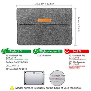 Inateck 12.3-13 Inch MacBook Air/Pro/Surface Felt Laptop Sleeve SP1003, Dark Gray