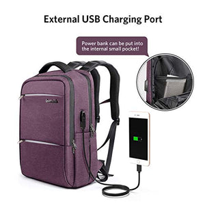 Inateck 15.6 Inch Laptop Backpack with USB-C Port, CB1001 Purple