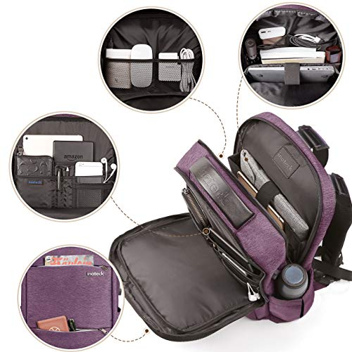 15.6 Inch Laptop Backpack with USB Port CB1001, Purple - Inateck Backpacks