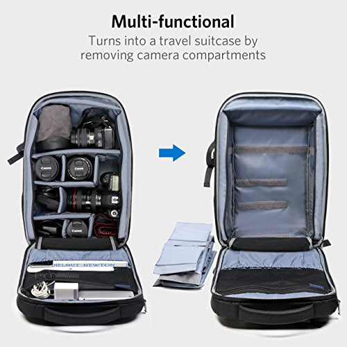 Inateck 15.6 Inch 3 in 1 DSLR Camera/Laptop/Travel Large Capacity Backpack AB02002, Black
