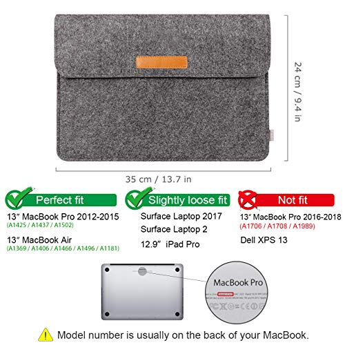 Inateck 13-13.3 Inch MacBook Pro/Air/iPad Pro Laptop Sleeve MP1300D, Dark Gray