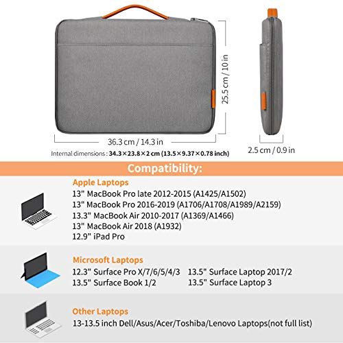 Inateck 13-13.3 Inch MacBook Air/MacBook Pro(Retina) Laptop Sleeve Case LB1302, Gray