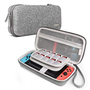Inateck Nintendo Switch & Accessories Felt Hard Shell Case AB03001, Light Gray