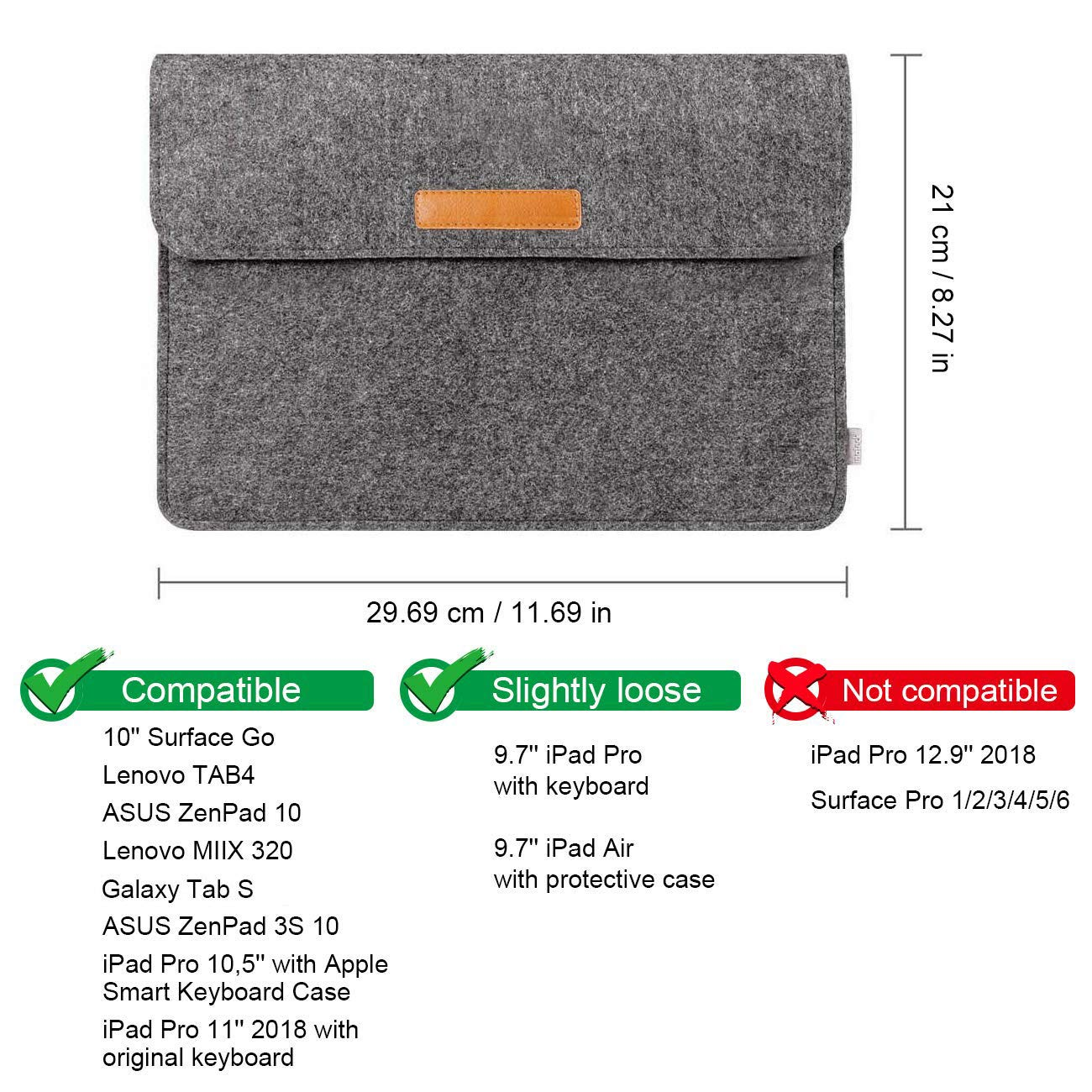 Inateck 10.5-11 Inch Felt iPad Tablet Sleeve TPB-IP, Dark Gray