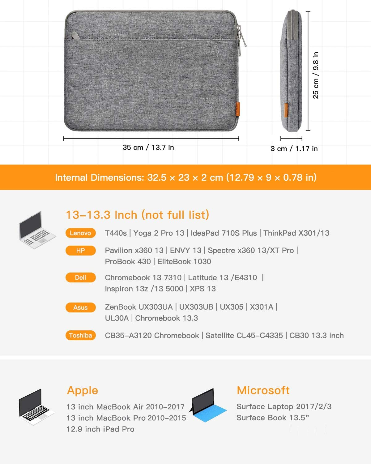 "Inateck 13-13.3"" Laptop Sleeve Carrying Case Compatible MacBook Pro & Air, 13.5'' Surface Laptop with Accessory Pouch LB01005, Gray"