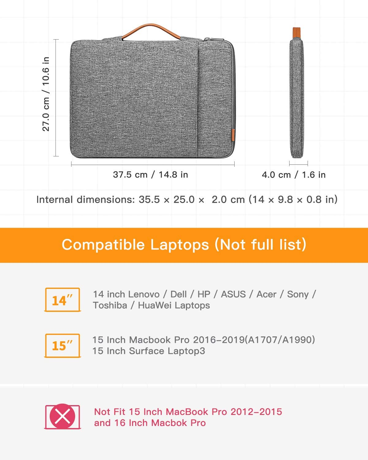 Inateck 14 Inch 360 Protection Shockproof Laptop Sleeve Carrying Case LB02006-14, Gray