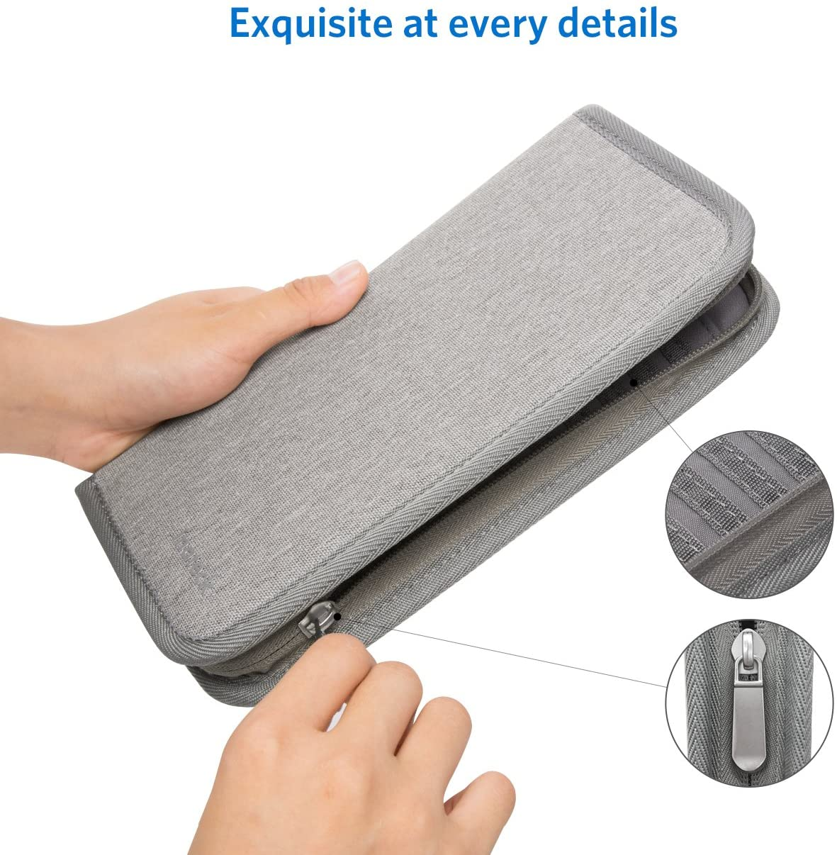 Inateck Travel Wallet Passport Holder Family Document Card with Hand Strap Zip Closure Document Organizer MP0603, Gray