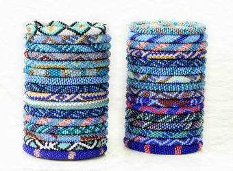 Beachside Blues! Glass Bead Nepal Bracelets by Lotus Sky