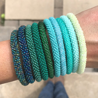 Gypsy Green-Teal SOLIDS Grab Bag - 10 Assorted Bracelets