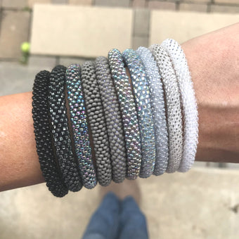 Gunmetal Silver SOLIDS Grab Bag - 10 Assorted Bracelets