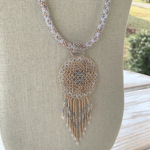 Golden Icicles Dreamcatcher Necklace