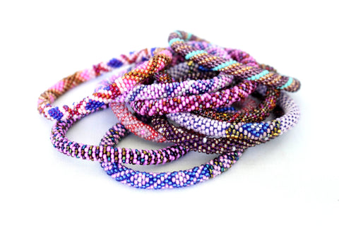 Passionate in Purples! Ethically Handcrafted Glass Bead Bracelets