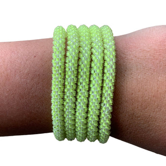 "Softball Green ""Slender Stacker"" Bracelet"