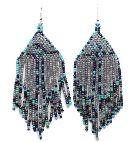 Purple Teardrop Tassel Earrings