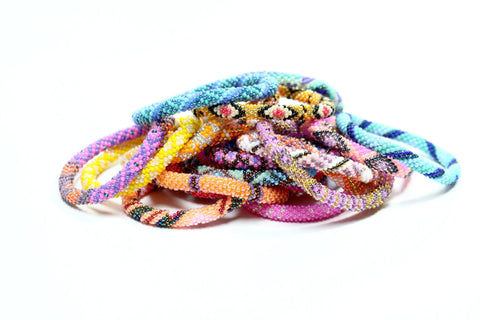 Tropical Brights!  Ethically Handcrafted Nepal Glass Bead Bracelets