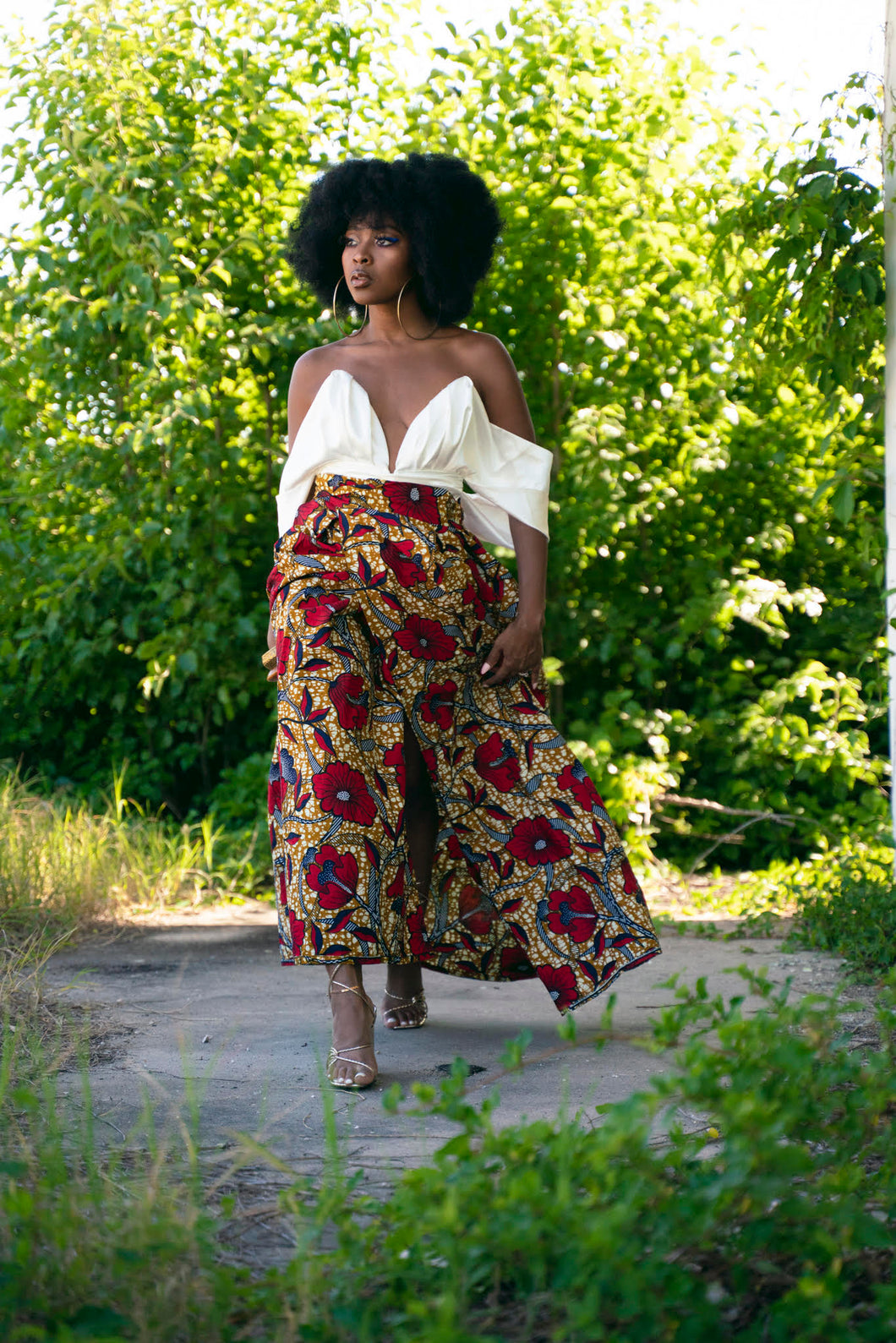 The Hibiscus Floral Wrap Maxi Skirt