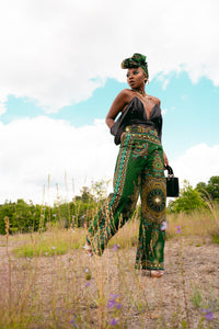 The Chistina Wide leg Pant 'Dashiki Green'