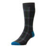 Thackeray Charcoal and Purple Tartan Wool Socks