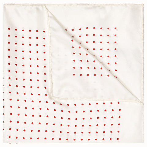Red Silk Spot Pocket Square