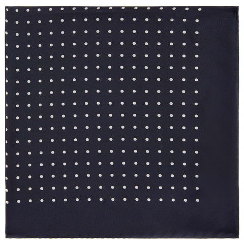 Navy Silk spot pocket square