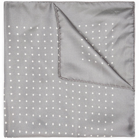 Grey Silk spot pocket square