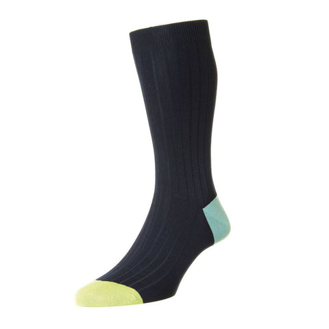 Portobello Navy Cotton Socks